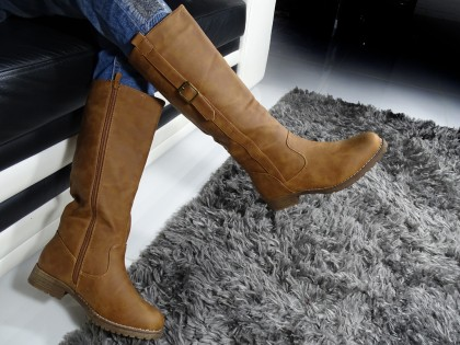Women's flat boots beige eco leather - 2
