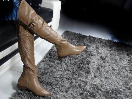 Beige ladies' boots flat eco leather with suede - 2