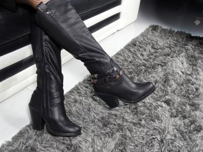 Fekete női öko bőr cowboy csizma - 2