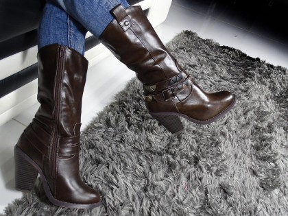 Brown eco boots leather in comfortable heels - 2