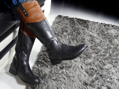 Flat black women's eco leather boots - 2