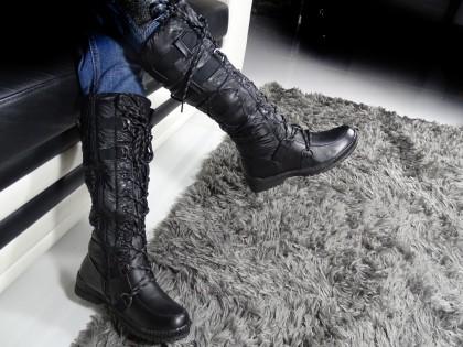 Női fekete lapos csizma nejlonból - 2