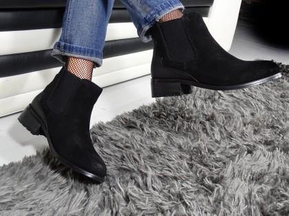 Sztyblety buty czarne damskie zamszowe