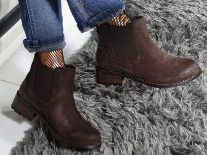 Sztyblety buty brązowe damskie zamszowe