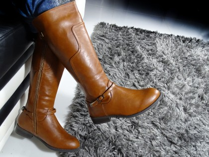 Flat ladies' eco-friendly brown leather boots - 2