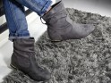 Grey women's flat boots for the ankle - 2
