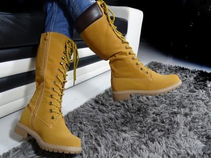 Damenstiefel beige flache Schuhe - 2