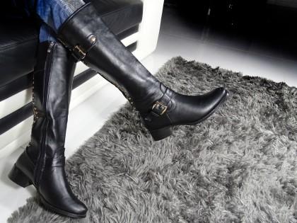 Schwarze flache Stiefel Öko-Lederstiefel Nieten - 2