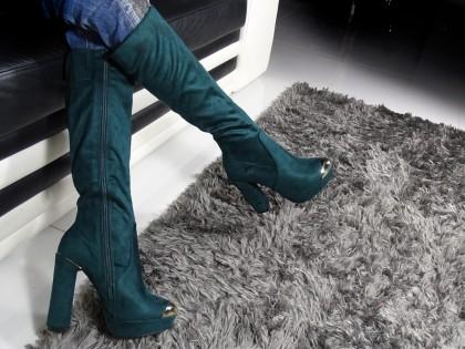 Női csizma az oszlopon velúr cipővel - 2