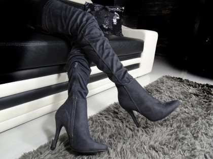 Cossacks by the knee suede boots - 2