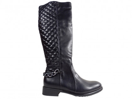 Black quilted boots women's eco leather - 1