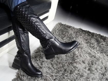 Black quilted boots women's eco leather - 2
