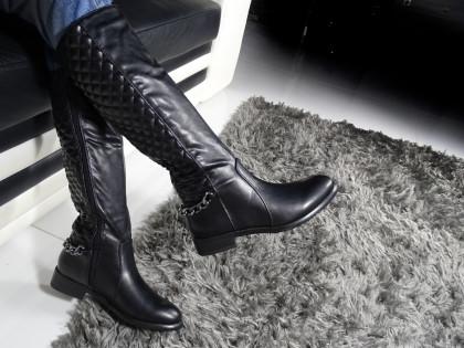 Fekete steppelt csizma nőknek öko bőr csizmában - 2