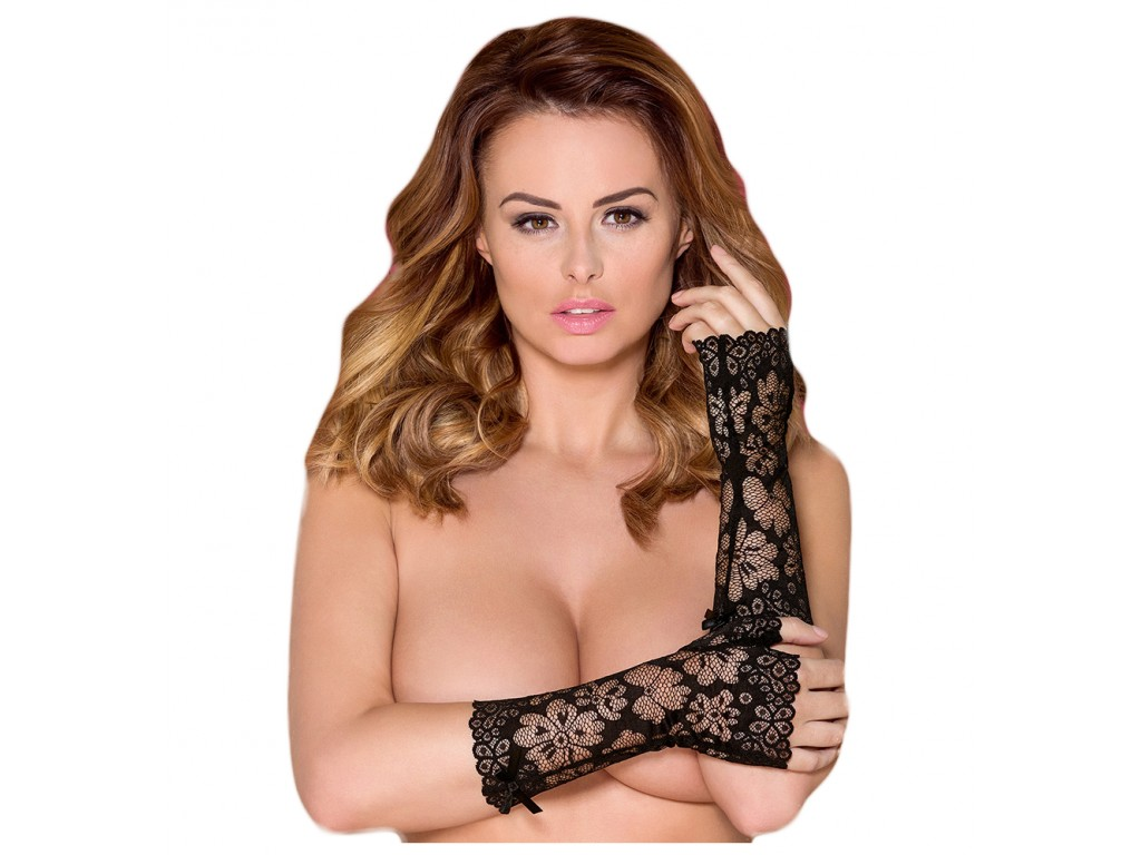 Black lace gloves Obsessive mittens - 1