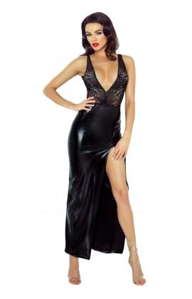 Czarna długa sukienka erotyczna jak skóra