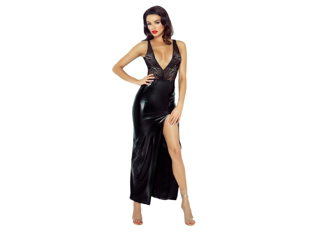 Czarna długa sukienka erotyczna jak skóra latex