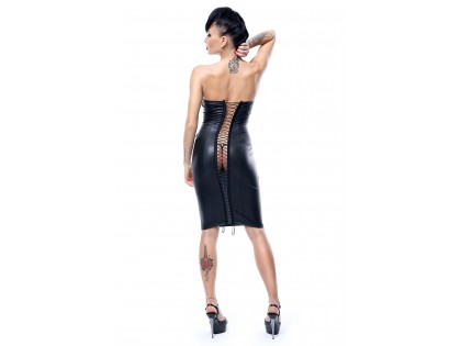 Czarna sukienka wiązana z tyłu jak latex