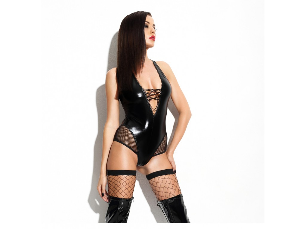 Black fitted body like leather erotic underwear - 1