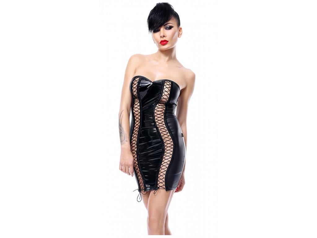 Czarna sukienka koszulka erotyczna jak latex