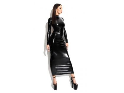 Czarna długa sukienka bielizna erotyczna jak latex