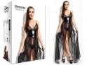 Long wet look dress tulle like leather ANASTASIA - 4