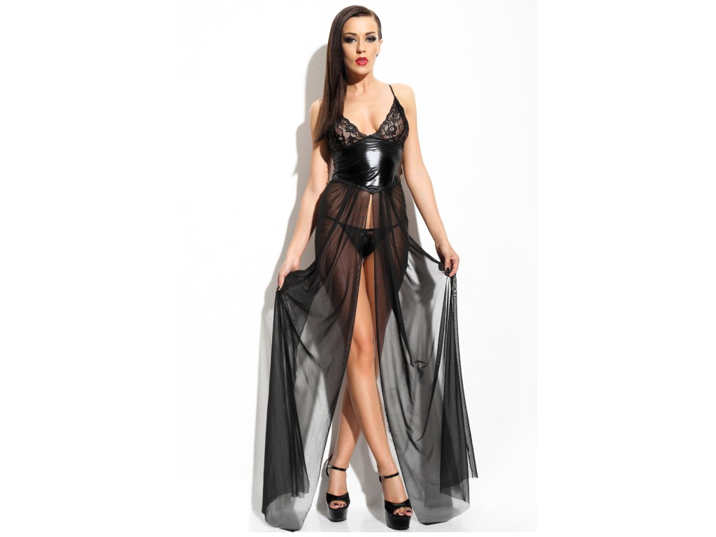 Long wet look dress tulle like leather ANASTASIA - 1