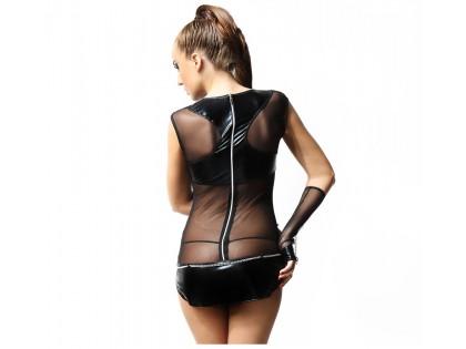 Czarna sukienka stringi i rękawiczki wet look jak skóra