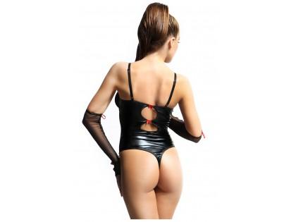 Czarne body jak skóra wet look z rękawiczkami erotyczne
