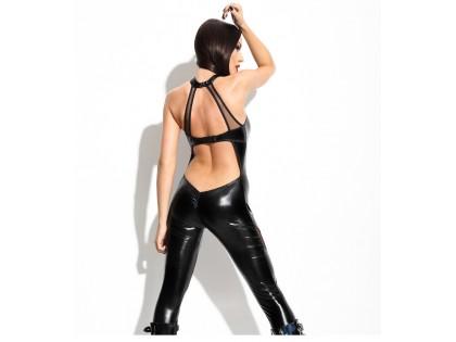 Czarny catsuit jak skóra wet look kombinezon