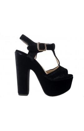 Outlet Czarne sandały na platformie słupek buty