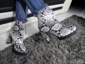 Boots on pole black and white snake eco leather - 2
