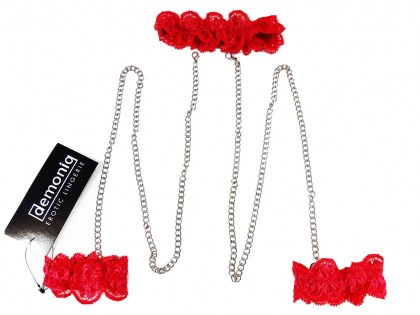 Zestaw biżuterii łańcuch i opaski na nadgarstki i szyję