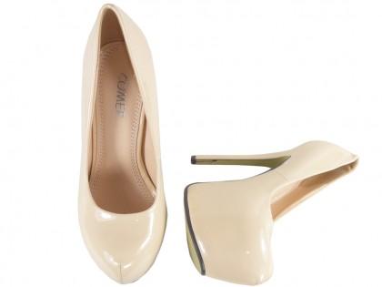 Beżowe szpilki na platformie high heels buty
