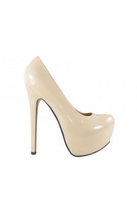 Outlet High heels buty beżowe szpilki na platformie