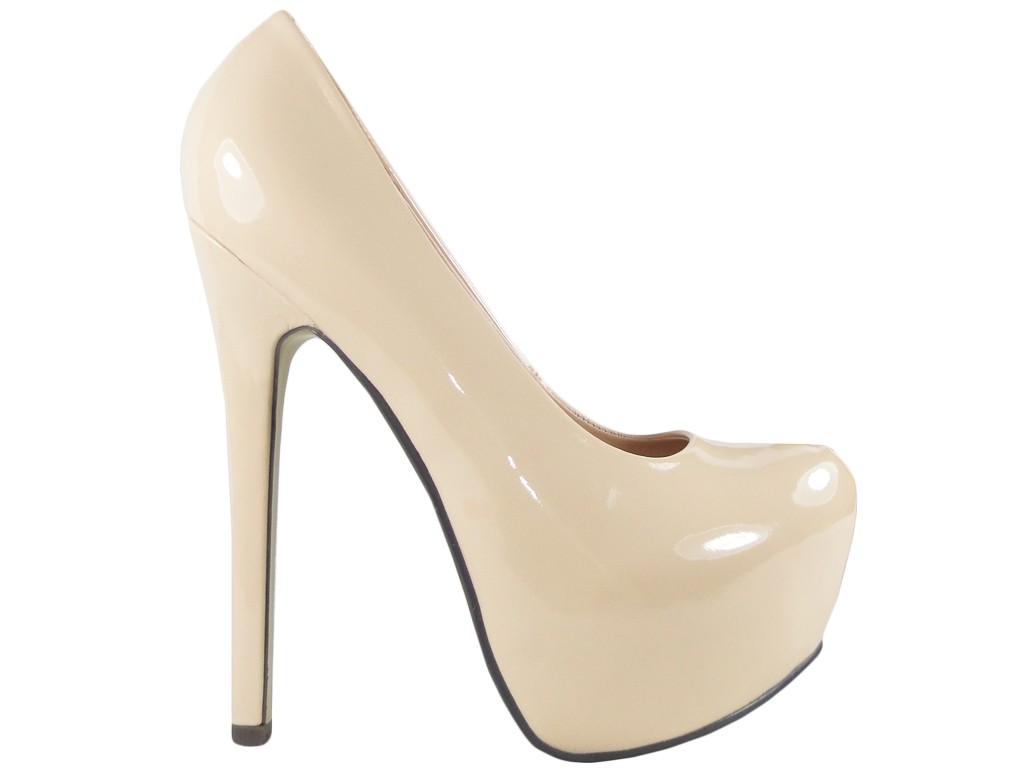 Beżowe szpilki na platformie high heels buty - 1
