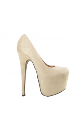 Beżowe szpilki damskie high heels zamsz buty