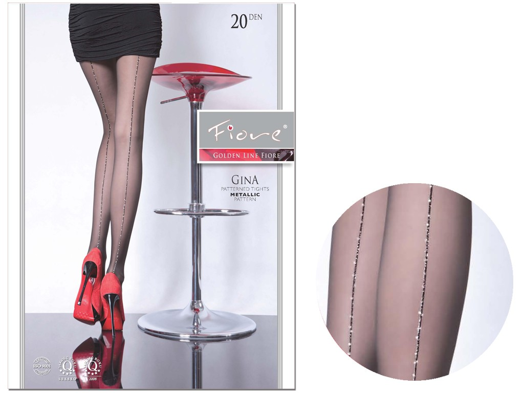 Ladies' tights with shiny lurex stitching - 3