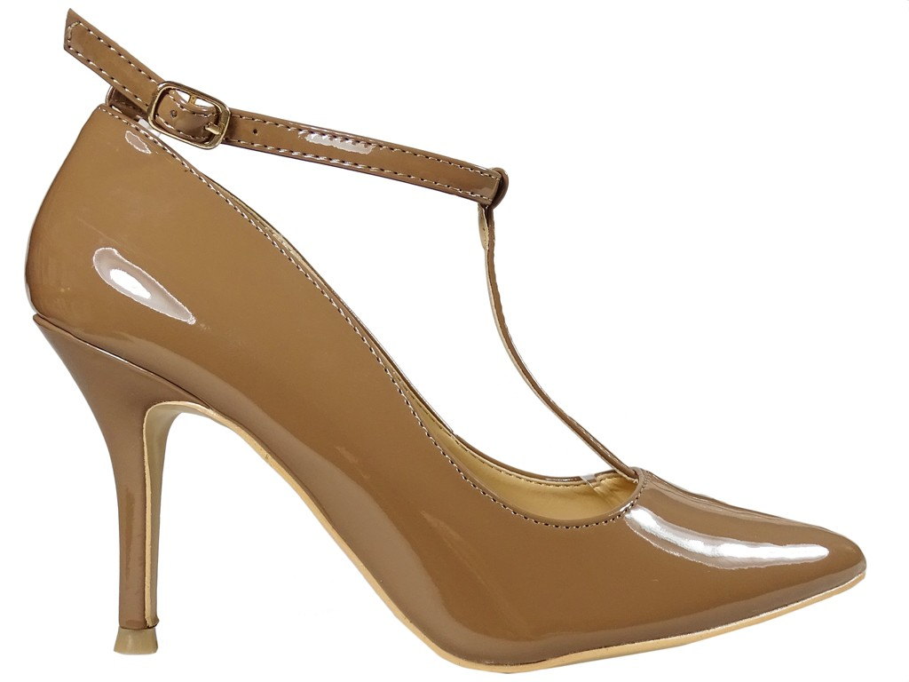 Beige ankle strap pins ladies' boots - 1