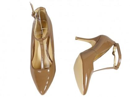 Beżowe szpilki z paskiem w kostce buty damskie
