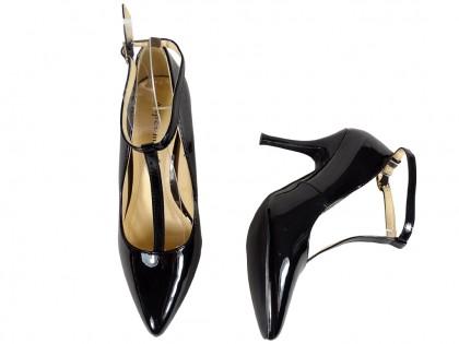 Czarne szpilki z paskiem buty damskie