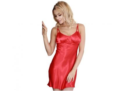 Satynowa koszulka nocna czerwona bielizna damska - 1