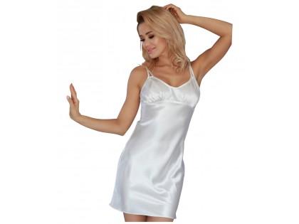 Satynowa koszulka nocna ecru bielizna damska - 1