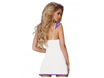 Biało fioletowa koszulka nocna bielizna damska