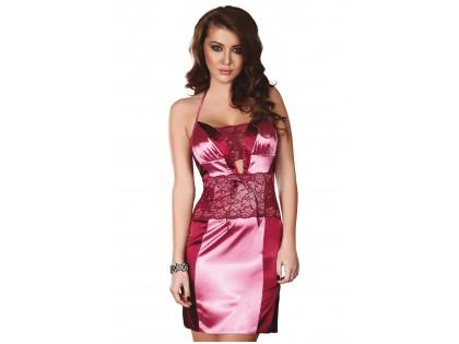 Rosa Damenunterwäschehemd der Satinspitze - 1