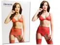 Red set of underwear high garter belt bra - 3