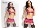 Pink lingerie set garter belt bra - 3