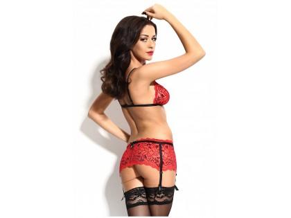 Red set of underwear garter belt bra - 2