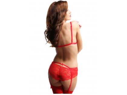 Czerwony koronkowy komplet bielizny pas do pończoch podwiązka