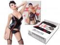 Black corset like wetlook leather with garter belts - 5
