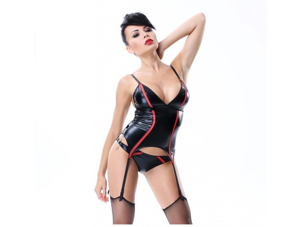 Black corset like wetlook leather with garter belts - 1
